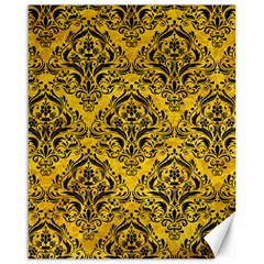 Damask1 Black Marble & Yellow Marble (r) Canvas 16  X 20  by trendistuff