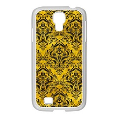 Damask1 Black Marble & Yellow Marble (r) Samsung Galaxy S4 I9500/ I9505 Case (white) by trendistuff