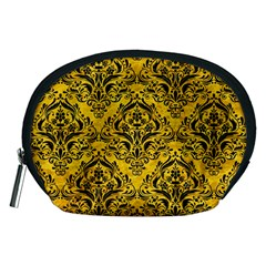 Damask1 Black Marble & Yellow Marble (r) Accessory Pouch (medium) by trendistuff