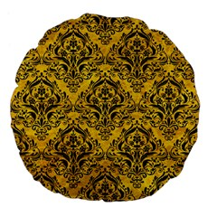 Damask1 Black Marble & Yellow Marble (r) Large 18  Premium Flano Round Cushion  by trendistuff