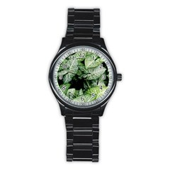 Green Leaves Nature Pattern Plant Stainless Steel Round Watch by Amaryn4rt