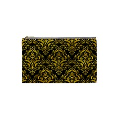 Damask1 Black Marble & Yellow Marble Cosmetic Bag (small) by trendistuff