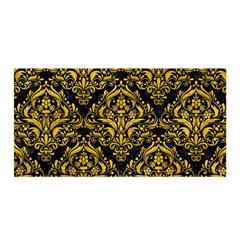 Damask1 Black Marble & Yellow Marble Satin Wrap by trendistuff