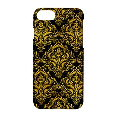 Damask1 Black Marble & Yellow Marble Apple Iphone 7 Hardshell Case by trendistuff