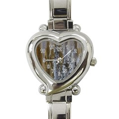 Grunge Rust Old Wall Metal Texture Heart Italian Charm Watch by Amaryn4rt