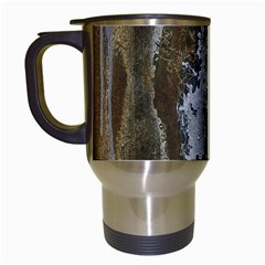Grunge Rust Old Wall Metal Texture Travel Mugs (white)