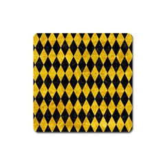 Diamond1 Black Marble & Yellow Marble Magnet (square)
