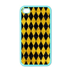Diamond1 Black Marble & Yellow Marble Apple Iphone 4 Case (color)