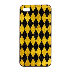 Diamond1 Black Marble & Yellow Marble Apple Iphone 4/4s Seamless Case (black) by trendistuff