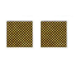 Circles3 Black Marble & Yellow Marble (r) Cufflinks (square) by trendistuff