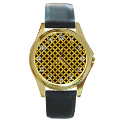 Circles3 Black Marble & Yellow Marble Round Gold Metal Watch