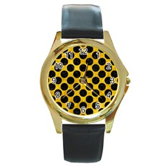 Circles2 Black Marble & Yellow Marble (r) Round Gold Metal Watch by trendistuff