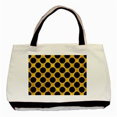Circles2 Black Marble & Yellow Marble (r) Basic Tote Bag (two Sides) by trendistuff