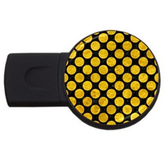 Circles2 Black Marble & Yellow Marble Usb Flash Drive Round (4 Gb) by trendistuff