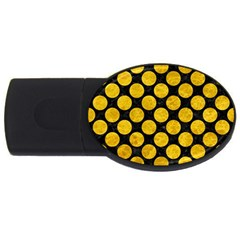 Circles2 Black Marble & Yellow Marble Usb Flash Drive Oval (4 Gb) by trendistuff