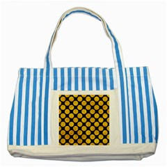 Circles2 Black Marble & Yellow Marble Striped Blue Tote Bag by trendistuff