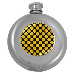 Circles2 Black Marble & Yellow Marble Hip Flask (5 Oz) by trendistuff