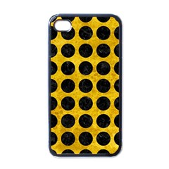 Circles1 Black Marble & Yellow Marble (r) Apple Iphone 4 Case (black) by trendistuff