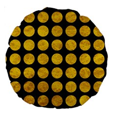 Circles1 Black Marble & Yellow Marble Large 18  Premium Round Cushion  by trendistuff