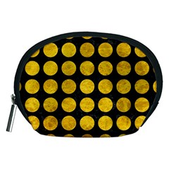 Circles1 Black Marble & Yellow Marble Accessory Pouch (medium) by trendistuff