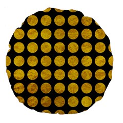 Circles1 Black Marble & Yellow Marble Large 18  Premium Flano Round Cushion  by trendistuff