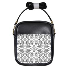 Mandala Line Art Black And White Girls Sling Bags by Amaryn4rt