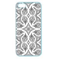 Mandala Line Art Black And White Apple Seamless Iphone 5 Case (color) by Amaryn4rt