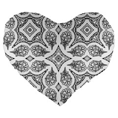 Mandala Line Art Black And White Large 19  Premium Heart Shape Cushions by Amaryn4rt