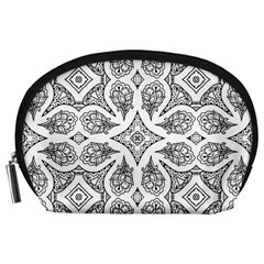 Mandala Line Art Black And White Accessory Pouches (large)  by Amaryn4rt
