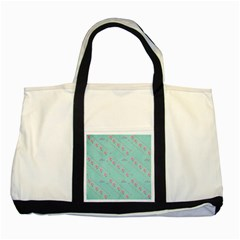 Love Flower Blue Background Texture Two Tone Tote Bag