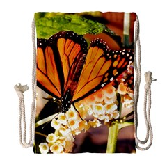 Monarch Butterfly Nature Orange Drawstring Bag (large)