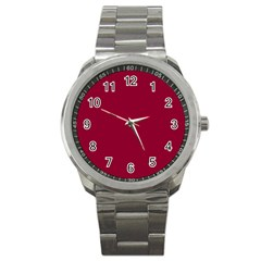 Deep Red Sport Metal Watch by Valentinaart