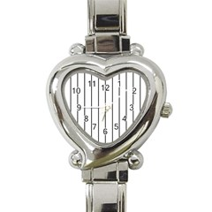 White And Black Lines Heart Italian Charm Watch by Valentinaart