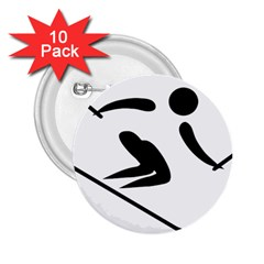 Archery Skiing Pictogram 2 25  Buttons (10 Pack)