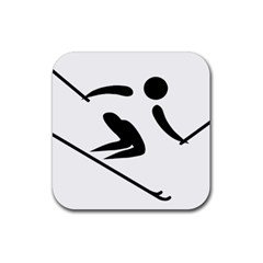 Archery Skiing Pictogram Rubber Coaster (square)  by abbeyz71