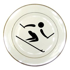 Archery Skiing Pictogram Porcelain Plates