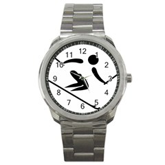 Archery Skiing Pictogram Sport Metal Watch by abbeyz71