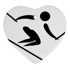 Archery Skiing Pictogram Heart Ornament (two Sides) by abbeyz71