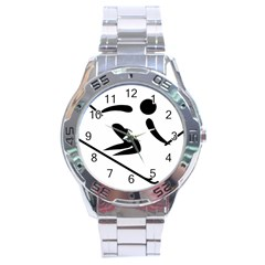 Archery Skiing Pictogram Stainless Steel Analogue Watch by abbeyz71