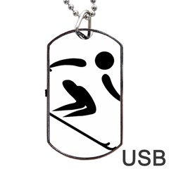 Archery Skiing Pictogram Dog Tag Usb Flash (one Side)