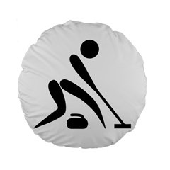 Curling Pictogram  Standard 15  Premium Flano Round Cushions by abbeyz71