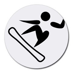 Snowboarding Pictogram  Round Mousepads by abbeyz71