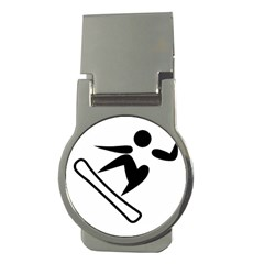 Snowboarding Pictogram  Money Clips (round)