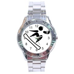 Snowboarding Pictogram  Stainless Steel Analogue Watch by abbeyz71