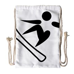 Snowboarding Pictogram  Drawstring Bag (large) by abbeyz71