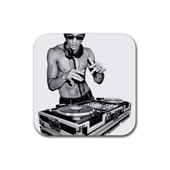 Bruce Lee Dj Rubber Square Coaster (4 Pack)  by offbeatzombie