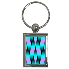 Shiny Decorative Geometric Aqua Key Chains (rectangle)  by Amaryn4rt