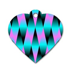 Shiny Decorative Geometric Aqua Dog Tag Heart (one Side) by Amaryn4rt