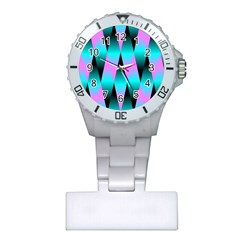 Shiny Decorative Geometric Aqua Plastic Nurses Watch by Amaryn4rt