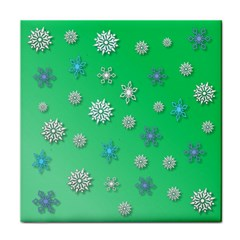 Snowflakes Winter Christmas Overlay Tile Coasters